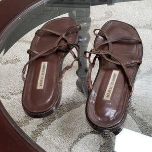 Manolo Blahnik size 381/2 brown leather sandals
